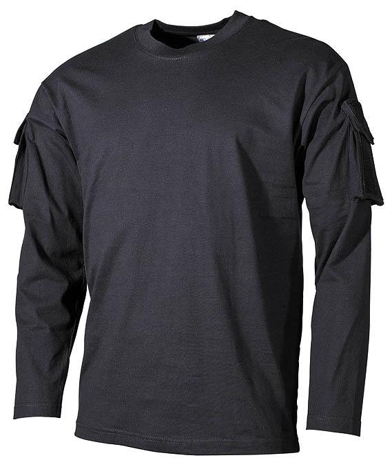 US Shirt, langarm, schwarz,